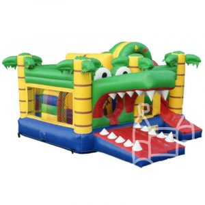 Opblaasbaar krokodil speelkussen huren